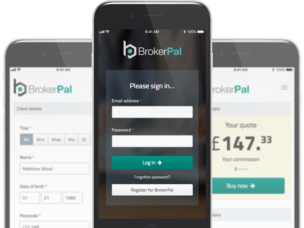 BrokerPal example screens on an iPhone